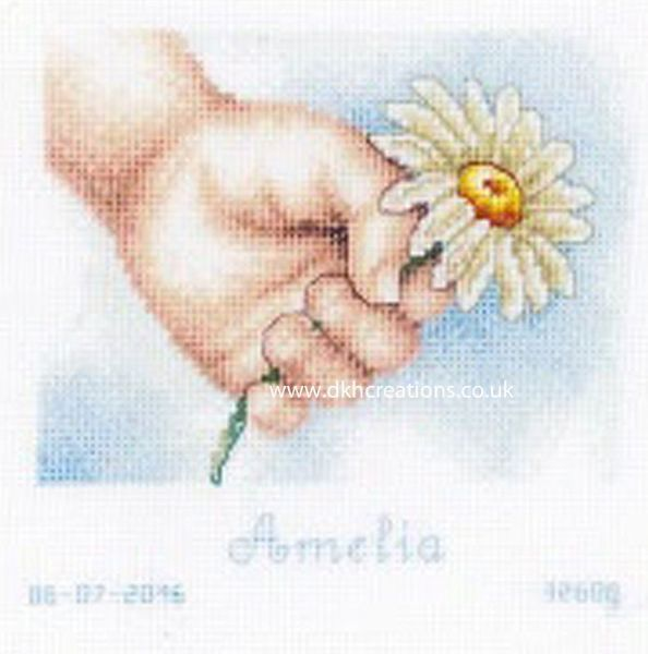 Hand With Daisy Birth Sampler Cross Stitch Kit